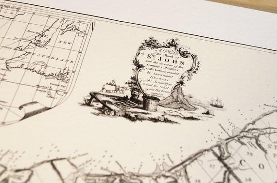 Prince Edward Island Canada - Antique Map Print on Eco Bamboo paper with textured edge - Made in Canada! East Coast Maritimes Saint John PEI