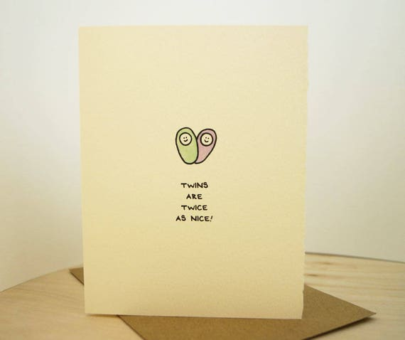 Twins Are Twice As Nice! Greeting Card Cute Adorable paper made in Canada Toronto illustration new baby newborn baby stationery expecting