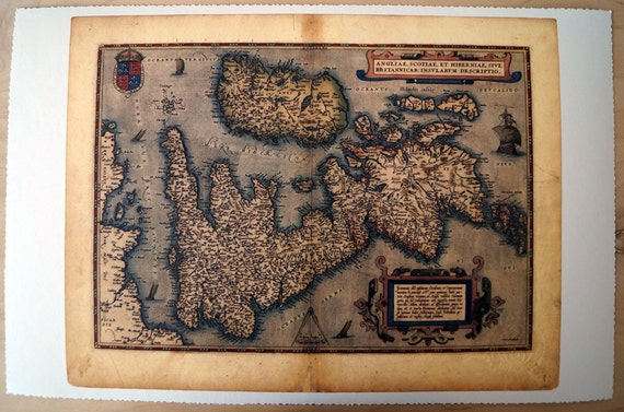 """United Kingdom & Ireland - Antique Map Print on Eco Bamboo paper with textured edge - Made in Canada! 11"""" x 17"""" and 8.5"""" x 11"""""""