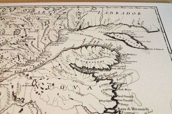 New Brunswick Canada - Antique Map Print on Eco Bamboo paper Made in Canada! East Coast Maritimes Fredericton Gaspé Peninsula