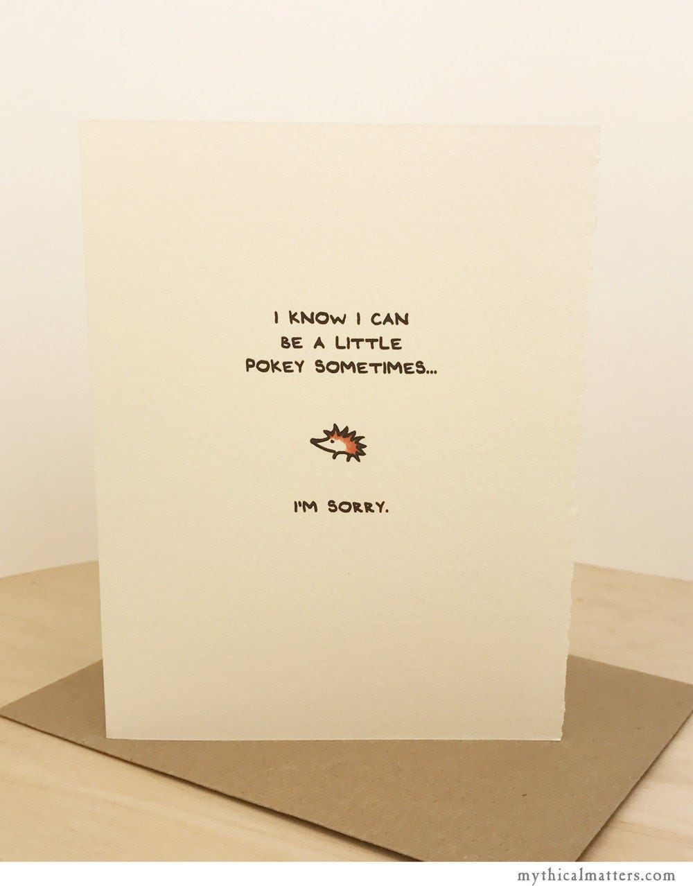 Im Sorry Card Hedgehog Greeting Card Cute Adorable Paper Made In