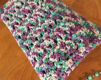 Purple Green Beaded Crochet Zippered Wristlet