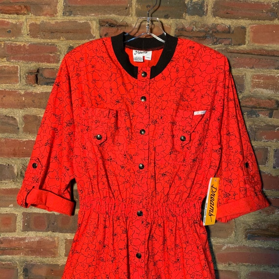 Rare NWT 80s Vintage Dreams romper Red w/Black Pr… - image 5