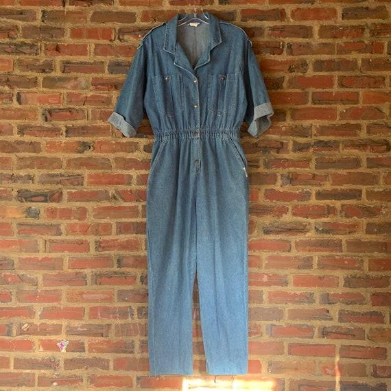 Cute Vintage 80s Large IDEAS Blue Denim jumpsuit o