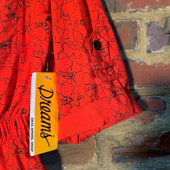 Rare NWT 80s Vintage Dreams romper Red w/Black Pr… - image 4
