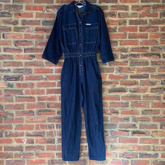 Vintage 80s Large IDEAS Blue Denim jumpsuit overal