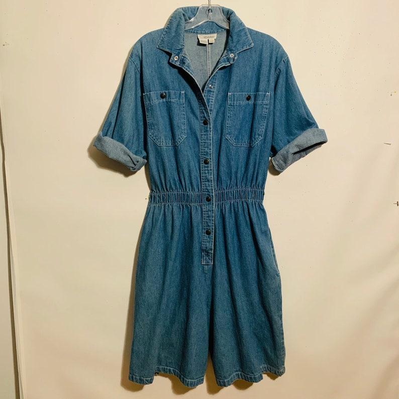 80s IDEAS romper Vintage blue denim snaps overalls Culottes women/'s Large