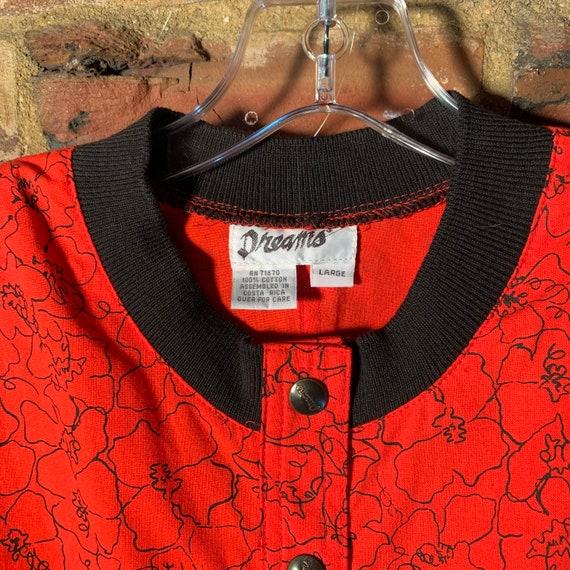 Rare NWT 80s Vintage Dreams romper Red w/Black Pr… - image 2