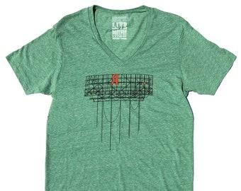 47552efbe Brooklyn T-Shirt in Vneck Heather Green, Red Hook, Brooklyn Industrial Sign