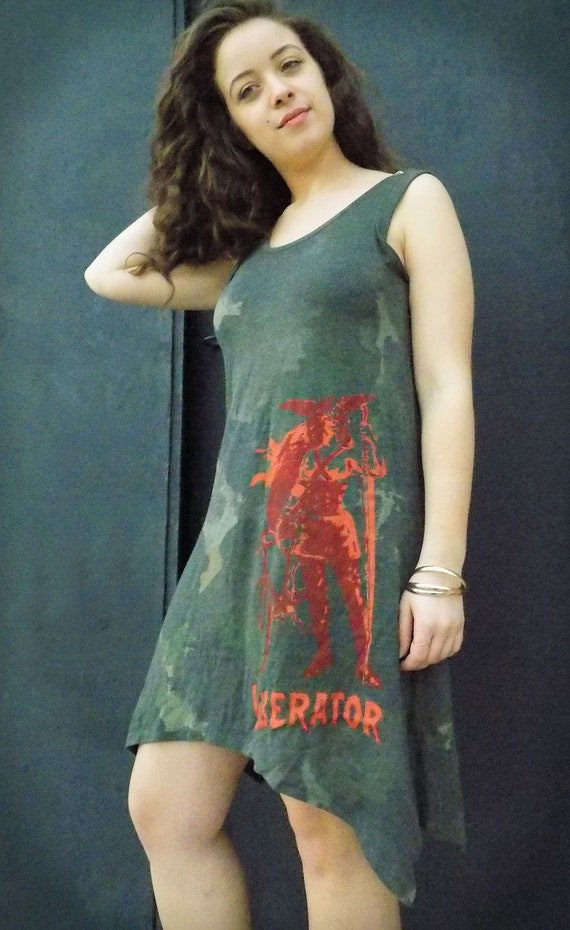 6442ae403c3 A-Line Dress The Liberator in Soft Camo with Red Print