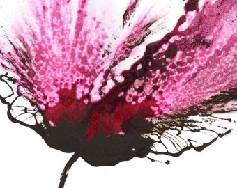 Painting Pink Flower Modern Wall Art Abstract Floral 5x7