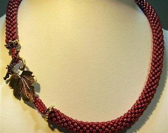 "Raspberry Bead Crochet Necklace - 18"""