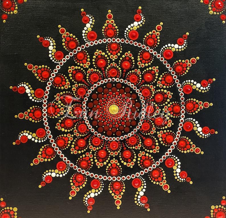 Pattern, Instructions, Sol Rojo, Dotting Pattern, Dot Mandala Tutorial, Dot  painting instructions, Dotting Instructions, Dot Tutorial,