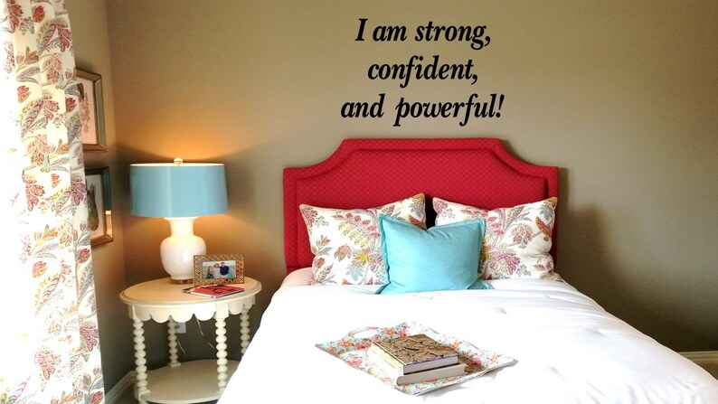 I am Strong Confident and Powerful Wall DecalChild Baby Nursery SignInspirational Wall WordsPersonal Motivation Wall Transfer