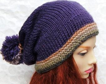 KNITTING PATTERNS Slouchy Beanie Handmade Knit Gift for Her Digital  Download Pompom Sister Gift for Mom Birthday Gift Boho Best SellingMARTA c2152162f3b