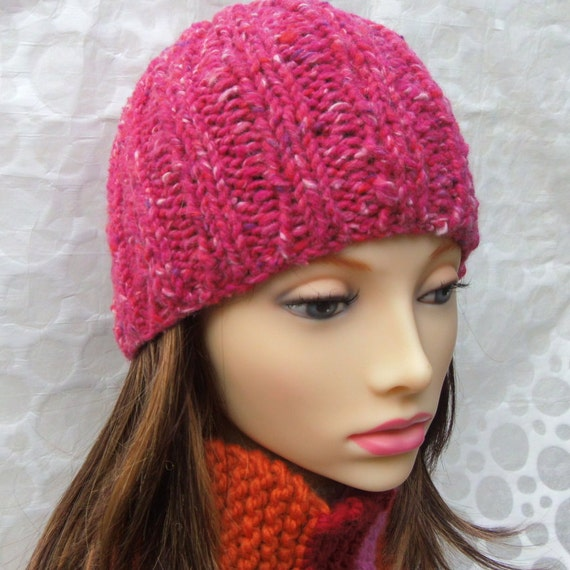 Knitting Patterns Rustico Chunky Knit Beanie Winter Hat Womans Etsy
