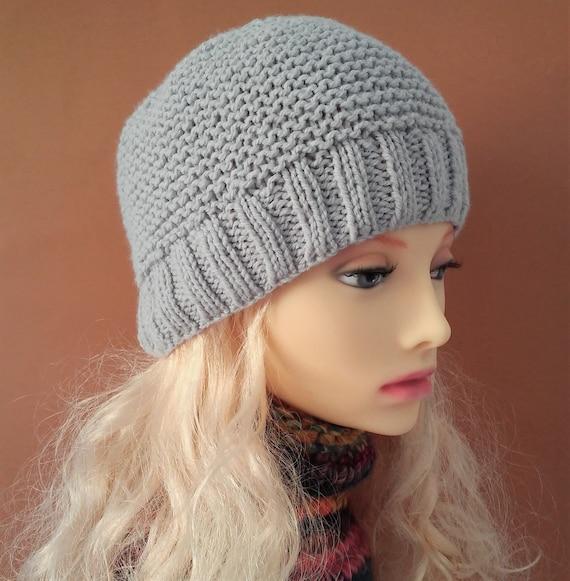 BEANIE KNITTING PATTERNS Womens Beanie Hat Knit Flat Easy  52f2679e8ba