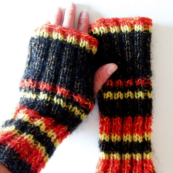 Knitting Patterns Fireside Fingerless Glove Pattern Easy Etsy