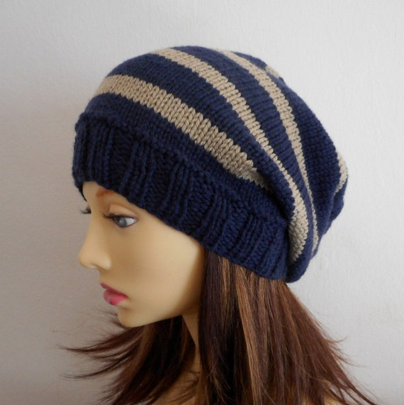 Teenagers Slouch Hat Knitting Pattern Striped Slouch Hat Pattern Girls Slouch Beanie Toque College Colors Stripe Hat Knit Round Easy Campus