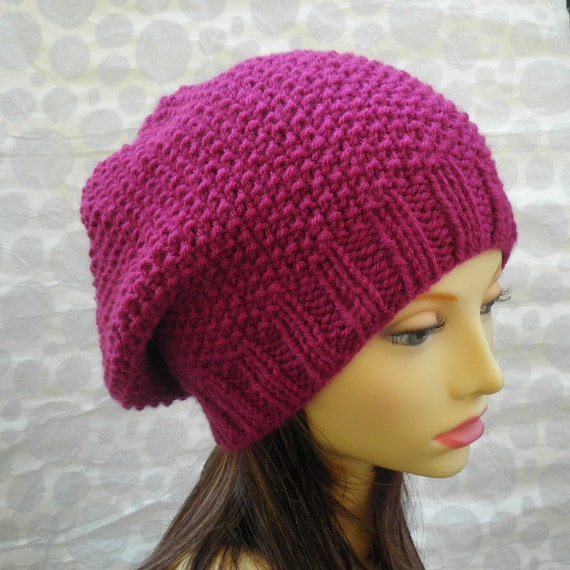 Knitting Pattern Womens Slouchy Hat Pattern Knit Round Easy Etsy