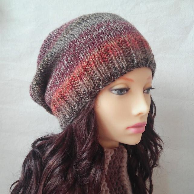 Womens Slouchy Beanie KNITTING PATTERN Easy Slouch Hat Pattern | Etsy