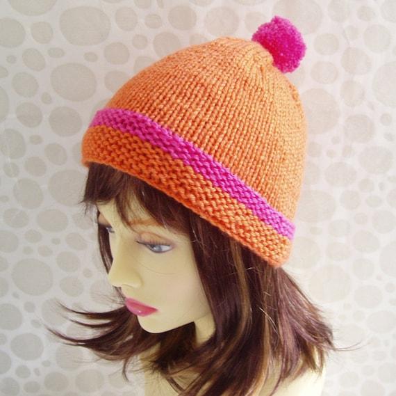 Girls Pompom Hat Pattern Gift For Daughter Beanie Knitting Etsy