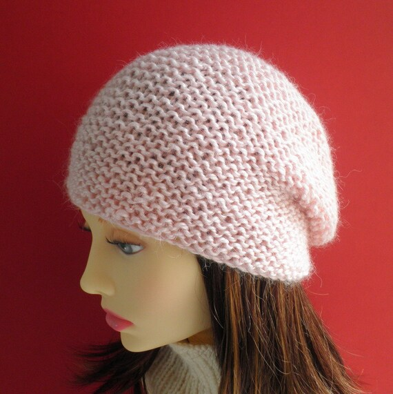 SIMPLE KNIT HAT Pattern Womens Easy Slouchy Beanie Knitting Etsy Classy Simple Knit Hat Pattern