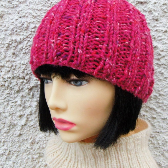 Womens Simple Beanie Knitting Pattern Chunky Ribbed Knit Etsy