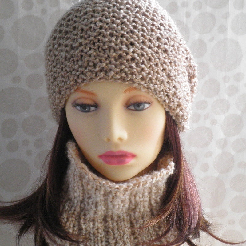 Womens Slouchy Knit Hat Beanie KNITTING PATTERN Boucle yarn