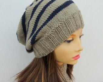 45e7e886aae KNITTING PATTERN CAMPUS Hat Striped Slouchy Beanie Woman Stripe Hat Pattern  Knit Round Slouch Hat Girls Striped Beanie College BeaniePattern