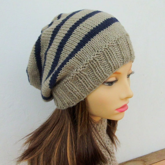 Knitting Pattern Campus Hatstriped Slouchy Beaniewoman Stripe Hat