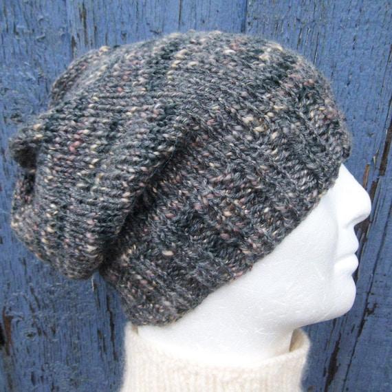 Mens Beanie Pattern Slouch Hat Knitting Pattern Easy Knit Etsy