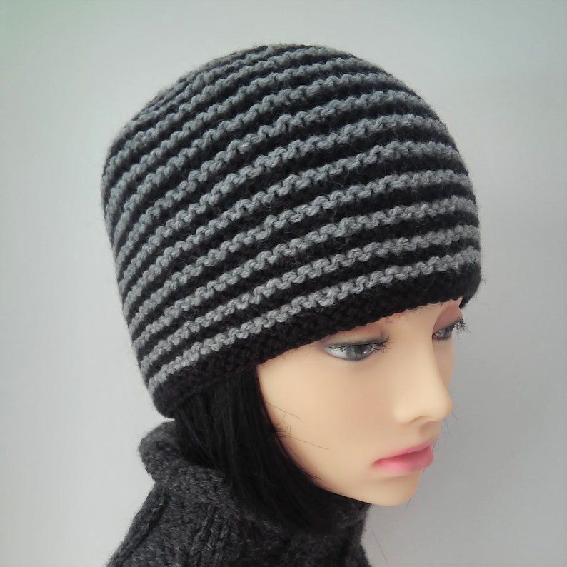 d6a7548f240 Striped Beanie Pattern Easy Knitting Pattern for Womens Hat