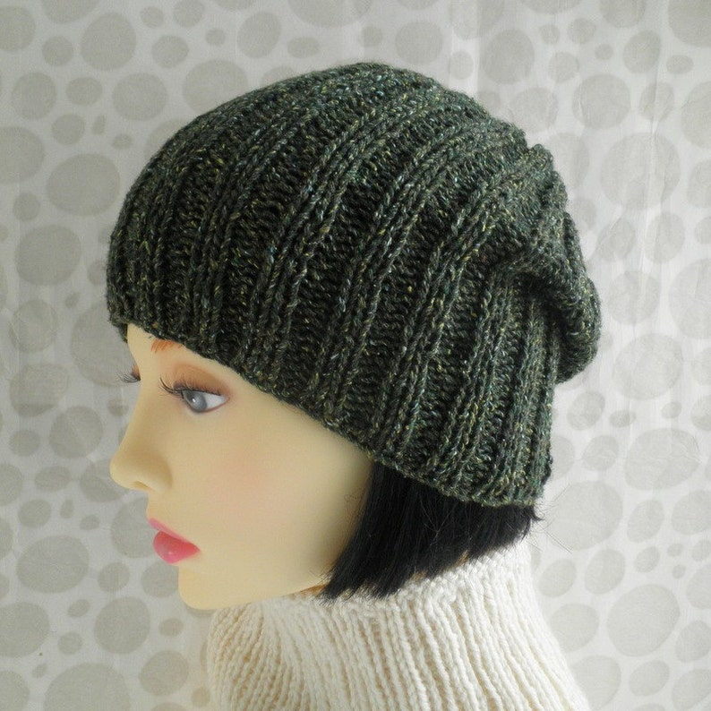 ce20bb762ee SLOUCH BEANIE Knitting Pattern Simple Ribbed Slouchy Hat