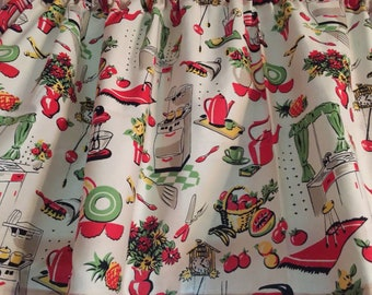 Peachy Retro Kitchen Curtains Etsy Home Remodeling Inspirations Cosmcuboardxyz