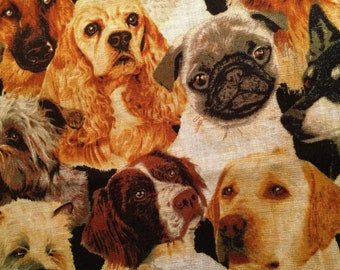 DOGS Fabric Fat Quarter Cotton Craft Quilting Terrier Poodle Dalmation Pug Husky
