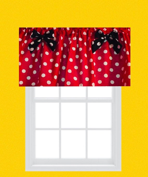 Red Polka Dot Mickey Mouse Valance Topper With Black Etsy