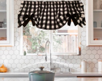 """Country, Farmhouse, Buffalo Valance, 1"""" Black and White Checks, with Removable Bows, Valance, 43""""W x 15""""L,  Window Curtain"""