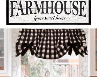 "Farmhouse, Plaid, Buffalo Valance, 1"" Black & White Checks, with Removable Bows, Valance, 43""W x 15""L,  Window Curtain"