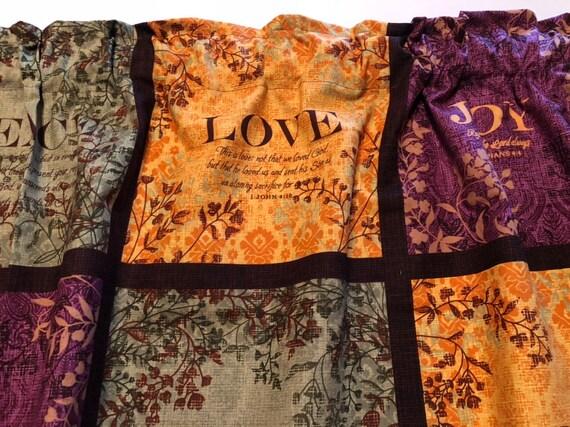 Fruit Of The Spirit Valance Sale Cotton Window Curtain Treatment 43W x 15L