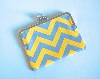 """iPad mini and eReader Clutch Case """"Gray and Yellow Chevron"""""""