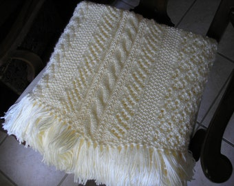 Ready-Made Knit Afghan---PEACEFUL in OFF WHITE