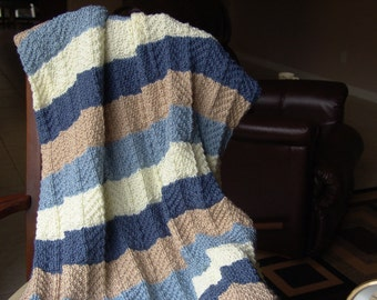 Knitted Afghan - Ripple Stitch in Blues, Beige and Off White