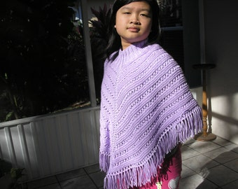 Knitted Poncho, Junior Girl - Orchid