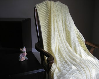 Knitted Afghan in Off White