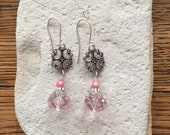 Pink Czech Glass with Silver Oval Focal Earrings
