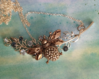 Bee on Coro Floral Branch Assemblage Necklace