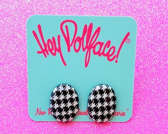 Oval Vintage Studs in Houndstooth - Retro Post Earrings
