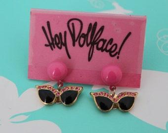 Retro Sunglasses Dangle Earrings - Pink and Black