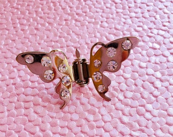 Vintage 90s Butterfly Hair Clip Accessory with Crystals